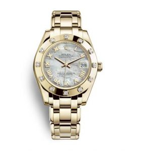 The 34 mm fake Rolex Pearlmaster 34 watches are made from yellow gold.