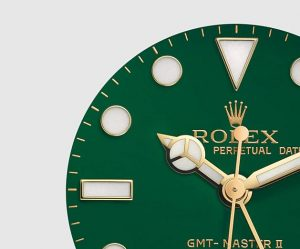 The 40 mm copy Rolex GMT-Master II 116718 watches have green dials.