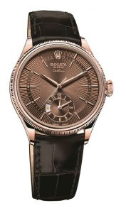 The luxury replica Rolex Cellini Dual Time Zone 50525 watches are made from 18ct everose gold.