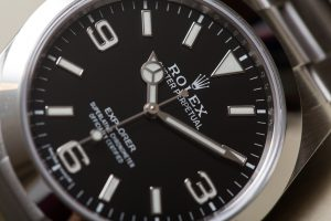 The 39 mm copy Rolex Explorer 214270 watches have black dials.