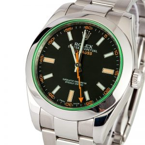 The 40 mm fake Rolex Milgauss 116400GV watches have black dials.