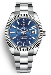 The 42 mm copy Rolex Sky-Dweller 326934 watches have blue dials.