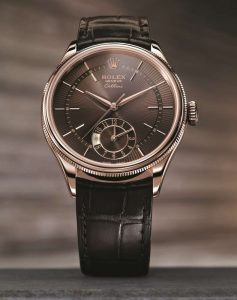 The 39 mm fake Rolex Cellini Dual Time Zone 50525 watches have brown dials.