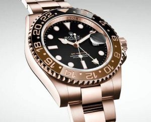 The 40 mm replica Rolex GMT-Master II 126715CHNR watches have black dials.