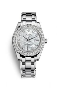 The exquisite copy Rolex Pearlmaster 34 81299 watches are decorated with diamonds.
