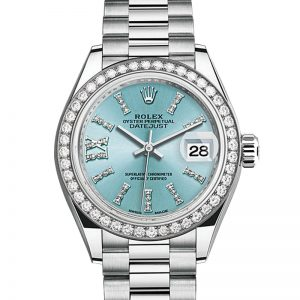 The 26 mm replica Rolex Lady-Datejust 28 279136RBR watches have ice blue dials.