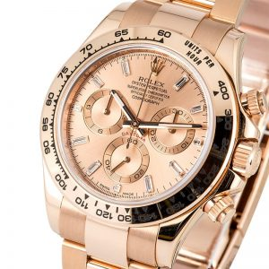 The 40 mm fake Rolex Cosmograph Daytona 116505 watches have pink dials.