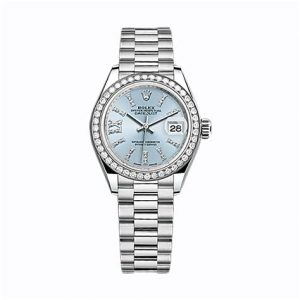 The luxury fake Rolex Lady-Datejust 28 279136RBR watches are made from platinum.