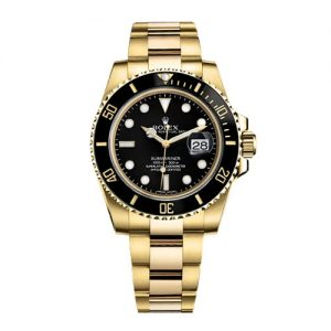 The luxury fake Rolex Submariner Date 116618LN watches are made from yellow gold.