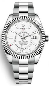 The durable copy Rolex Sky-Dweller 326934 watches are made from white gold and Oystersteel.