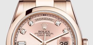The luxury copy Rolex Day-Date 36 118205 watches are made from everose gold.