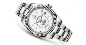 The sturdy fake Rolex Sky-Dweller 326934 watches can guarantee water resistance to 330 feet.