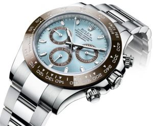 The attractive copy Rolex Cosmograph Daytona 116506 watch has ice blue dial.