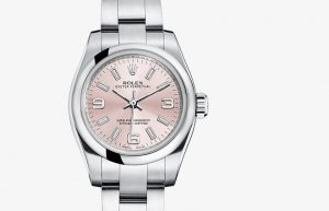 The 26 mm copy Rolex Oyster Perpetual 26 176200 watches have pink dials.