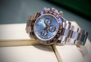 The luxury fake Rolex Cosmograph Daytona 116506 watch is made from platinum.