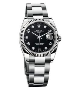 The white gold and Oystersteel copy Rolex Datejust 34 115234 watches can guarantee water resistance to 330 feet.