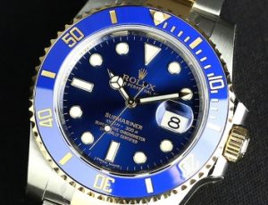 The superb copy Rolex Submariner Date 116613LB watches have blue dials.