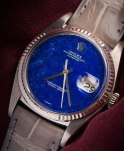 The white gold Rolex Datejust watch has charming lapis lazuli dial.