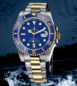 The gold and Oystersteel replica Rolex Submariner Date 116613LB watches can guarantee water resistance to 1,000 feet.
