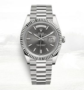 The male copy watches are made from white gold.