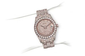The everose gold replica watches have diamond-paved dials.