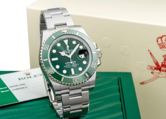 The green Submariner looks fresh and clean.