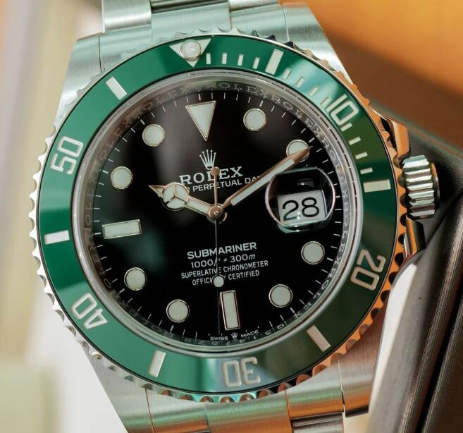The Rolex with green bezel looks very eye-catching.
