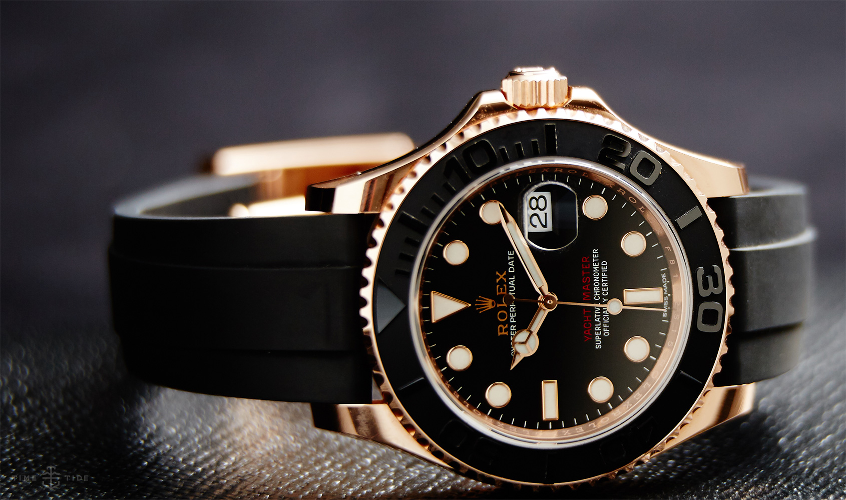The black Oysterflex strap makes the best copy Rolex more dynamic.