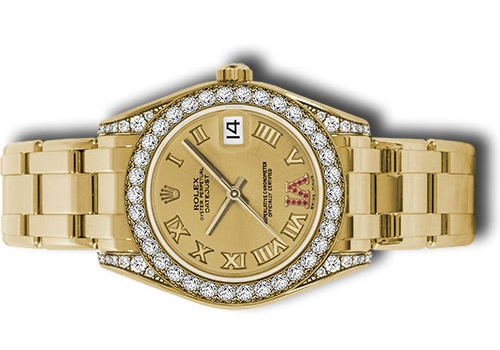 The champagne dial fake watch is decorated with diamonds.